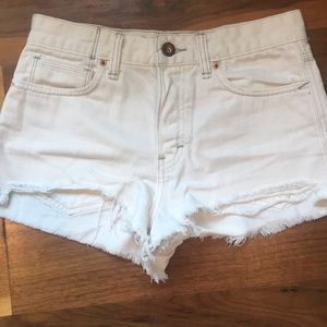 Free People Distressed Cut Offs Shorts 25 White